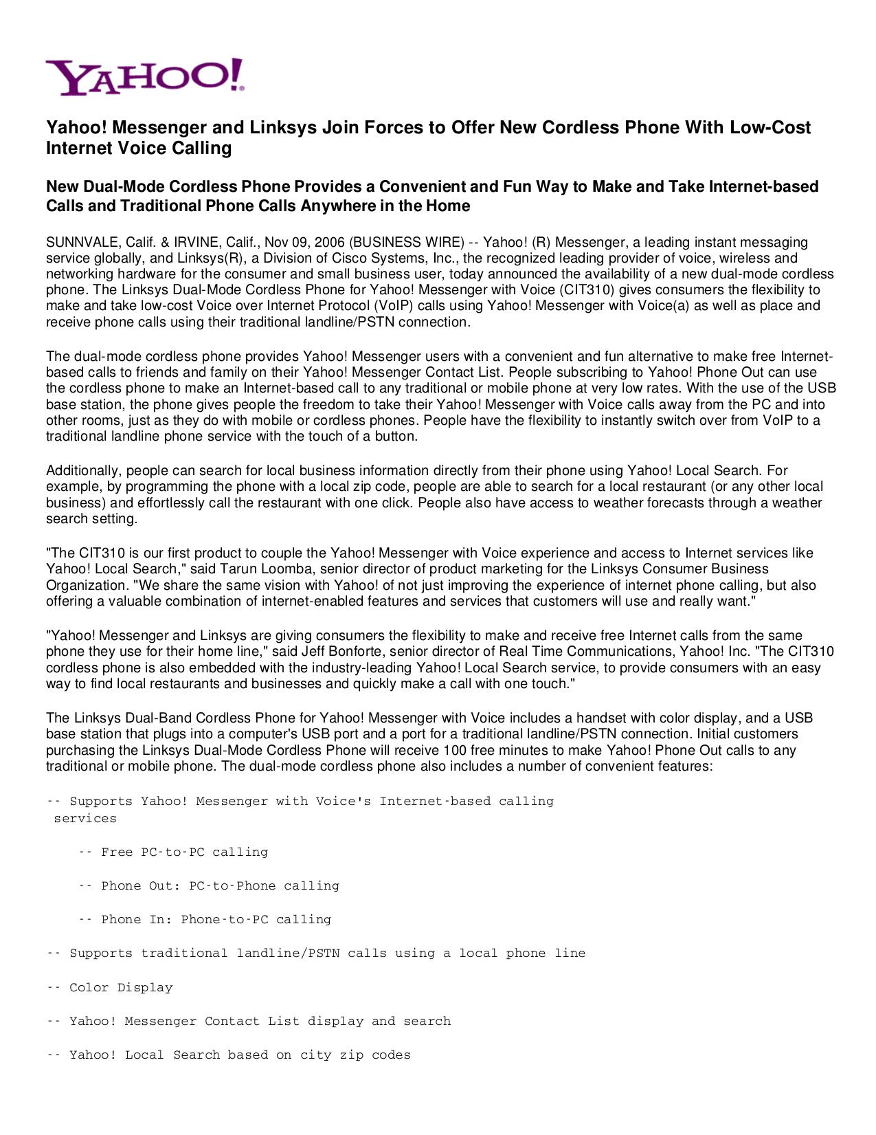 pdf for Linksys Telephone CIT310 manual