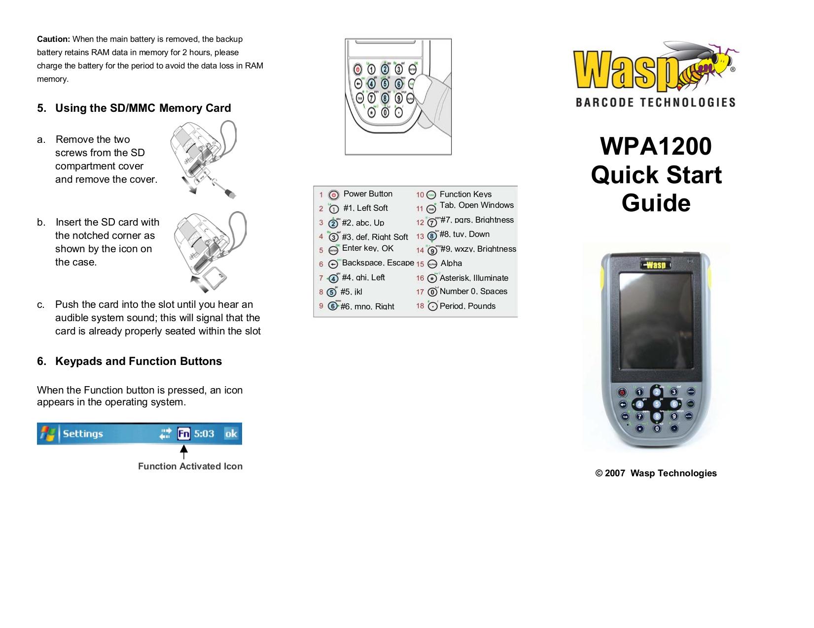 pdf for Wasp PDA WPA1200 manual