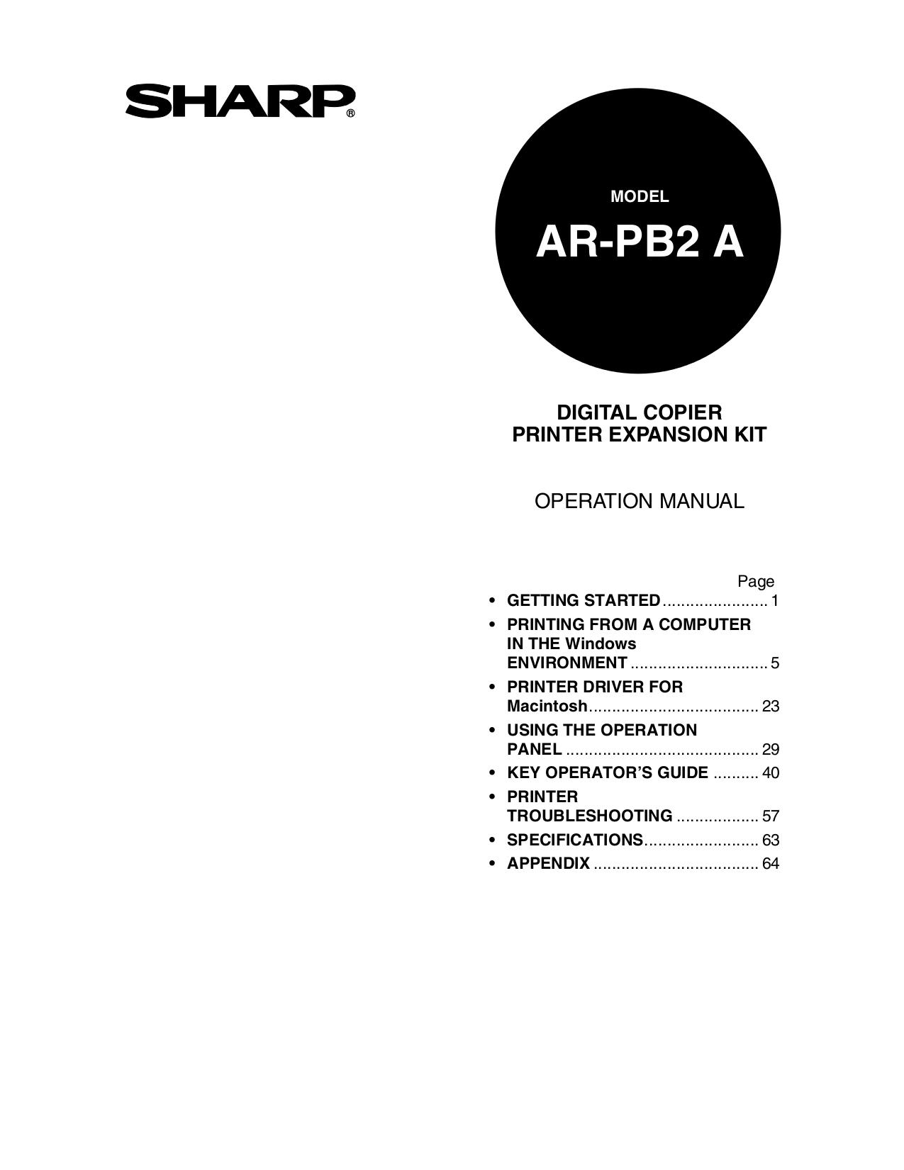 pdf for Sharp Copier AR-407 manual