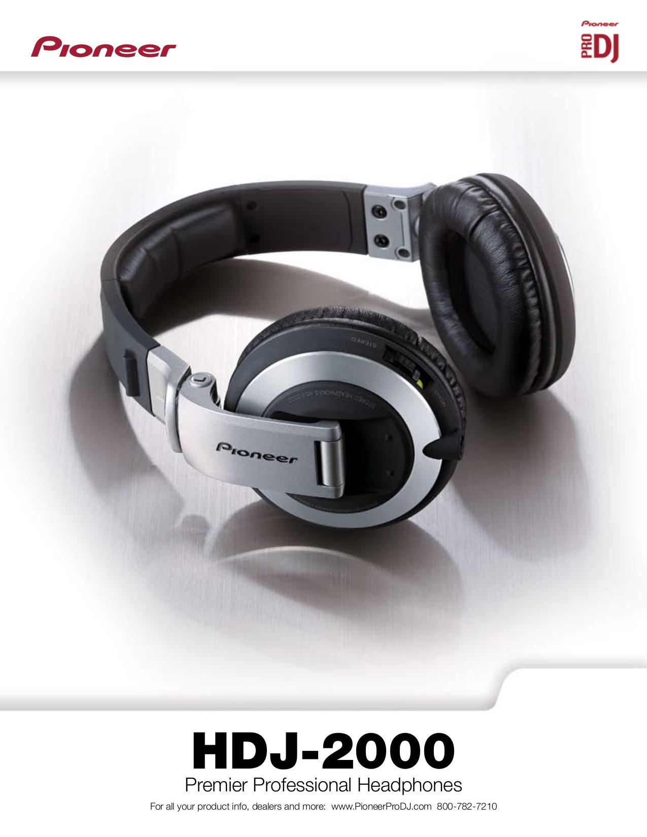 pdf for Pioneer Headphone HDJ-2000 manual