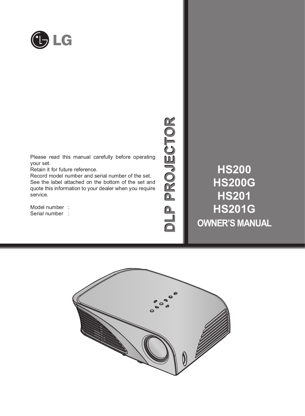 pdf for LG Projector HS201G manual