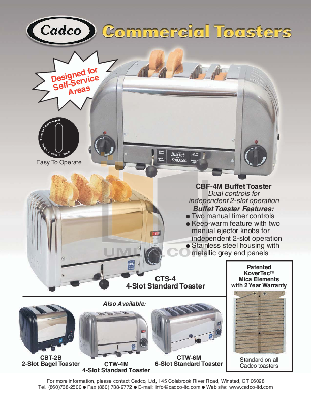 pdf for Cadco Other CBT-2B Toasters manual