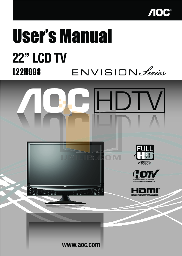 pdf for AOC TV L22H998 manual