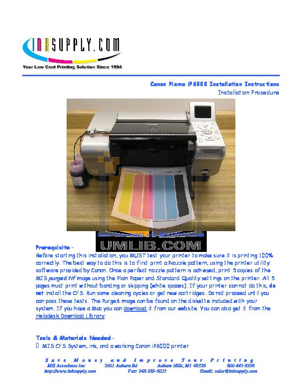 pdf for Canon Printer PIXMA iP6000D manual
