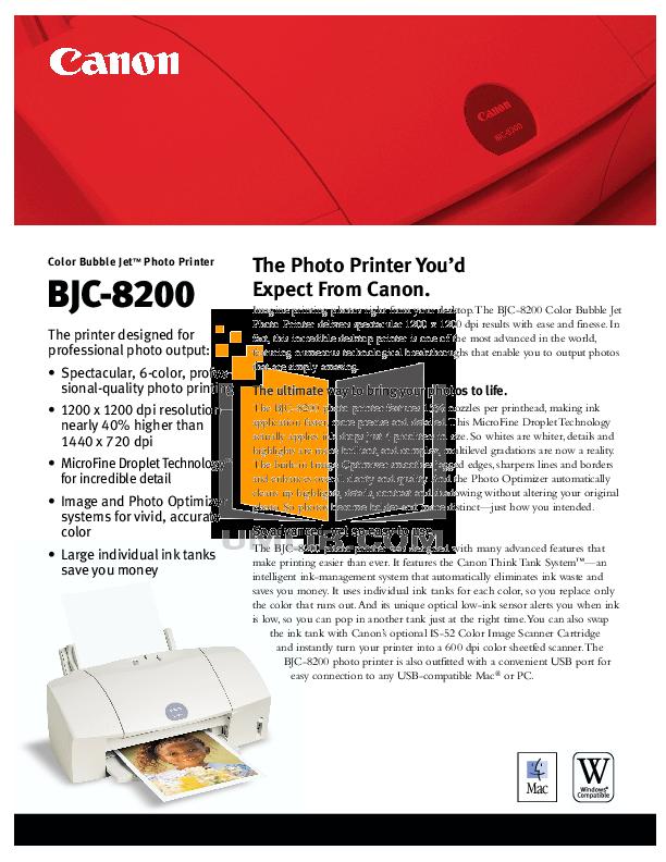 pdf for Canon Printer BJC-8200 manual
