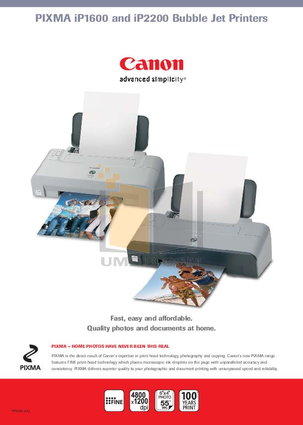 pdf for Canon Printer PIXMA ip2200 manual