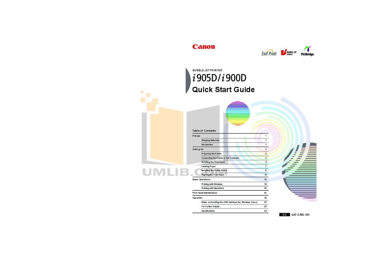 pdf for Canon Printer i900D manual