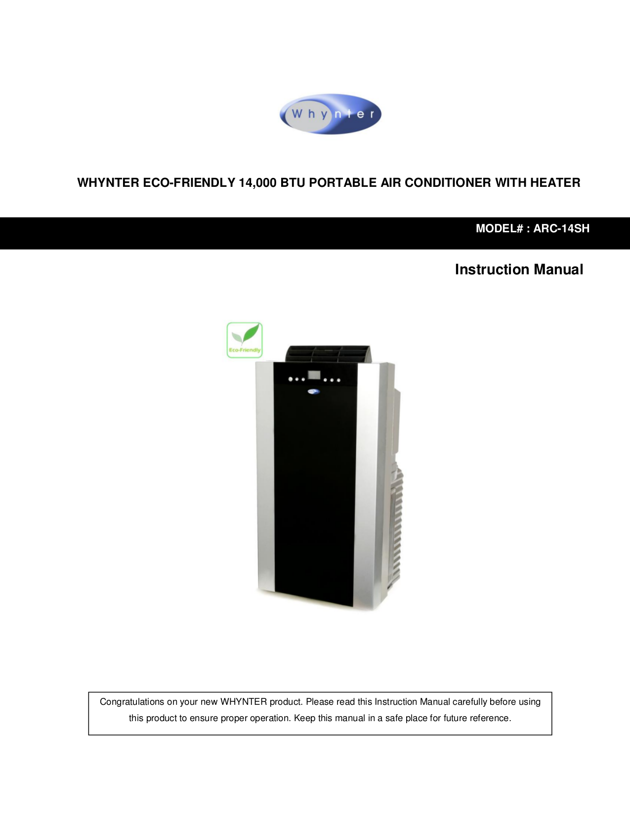 pdf for Whynter Air Conditioner ARC-14SH manual