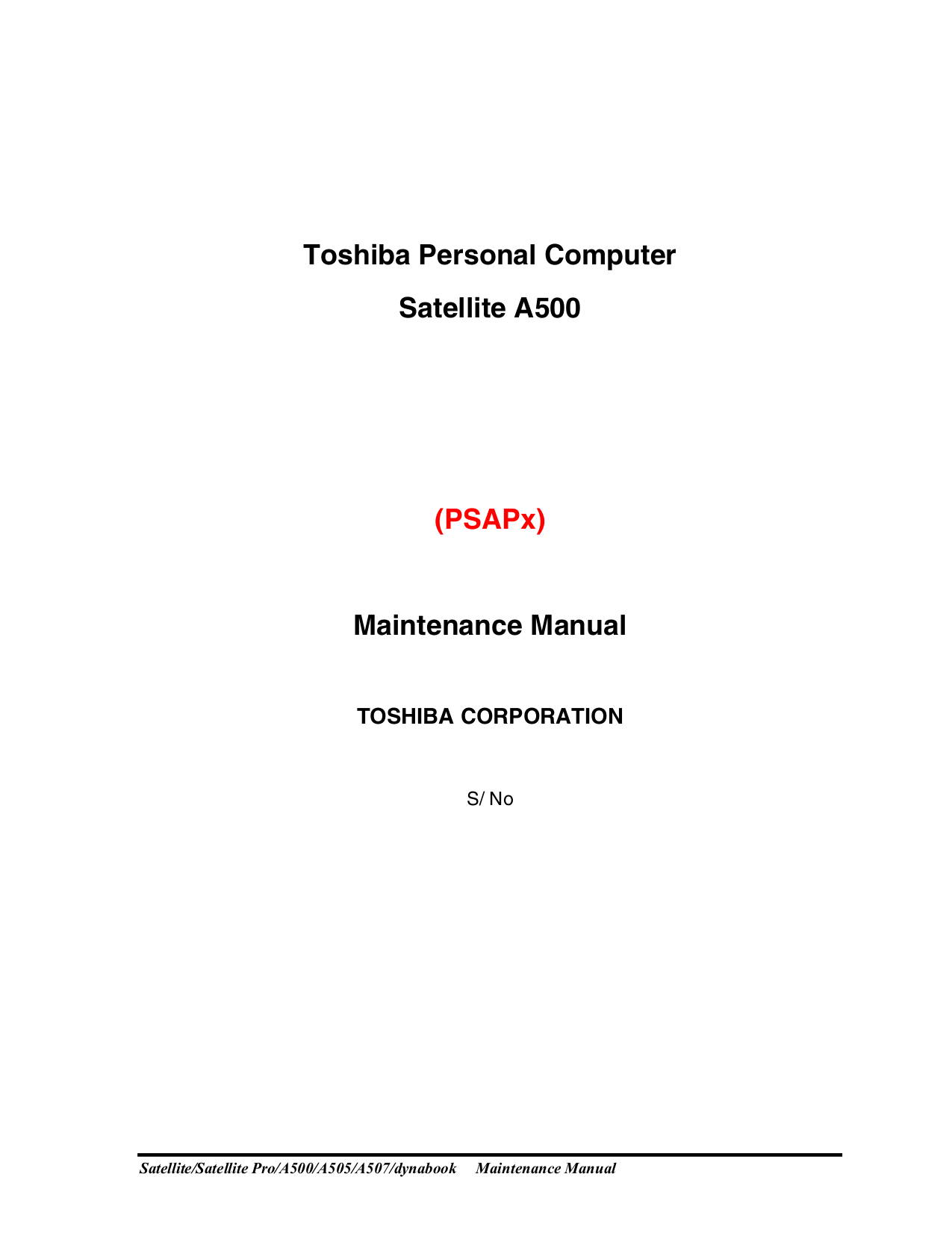 Toshiba Laptop Satellite A505-S6017 pdf page preview