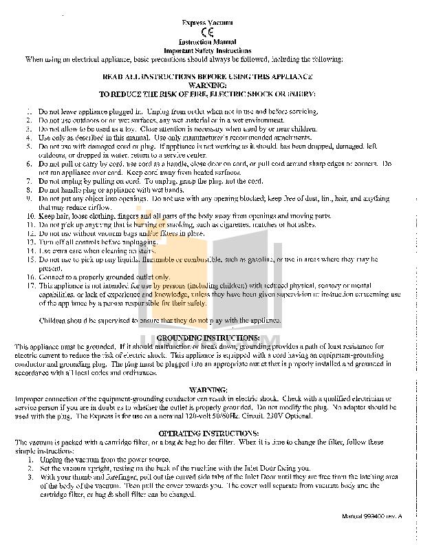pdf for Atrix Vacuum Express HEPA Vacuum manual