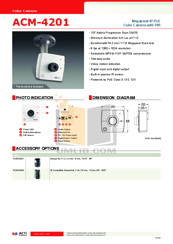 ACTi Security Camera ACM-4201 pdf page preview
