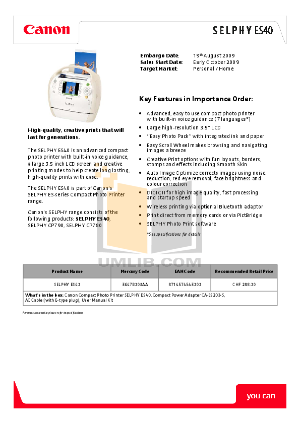 pdf for Canon Printer SELPHY ES40 manual