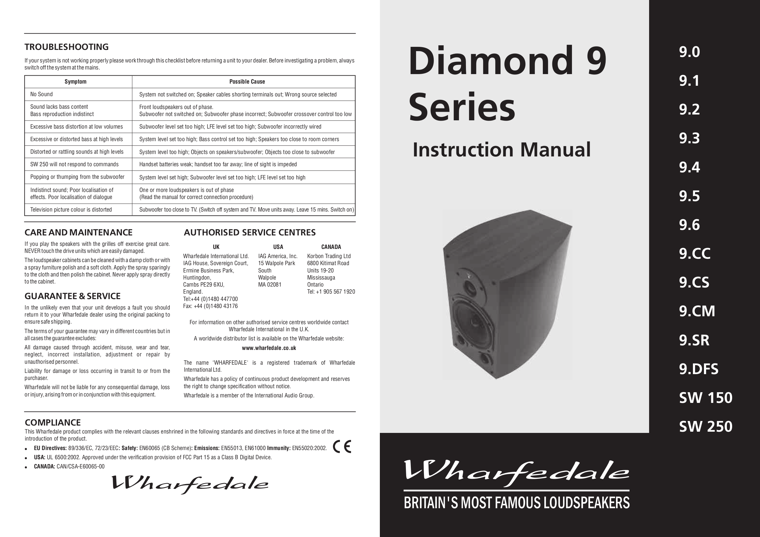 pdf for Wharfedale Speaker Diamond 9.SR manual