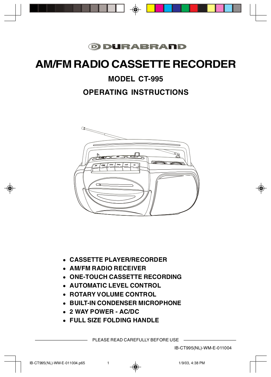 pdf for Lenoxx Other CT-995 Cassette Recorders manual