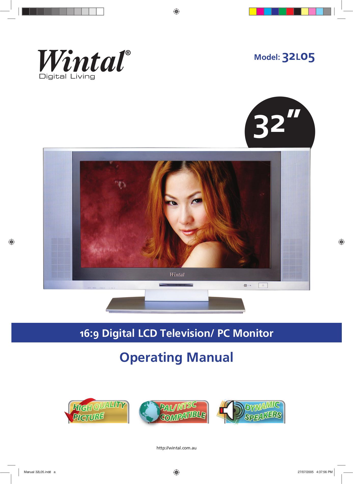 pdf for Wintal TV 32L05 manual