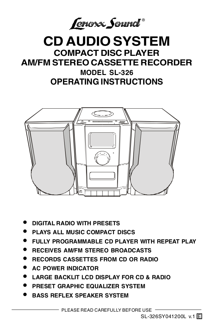 pdf for Lenoxx Other SL-326 Audio Players manual