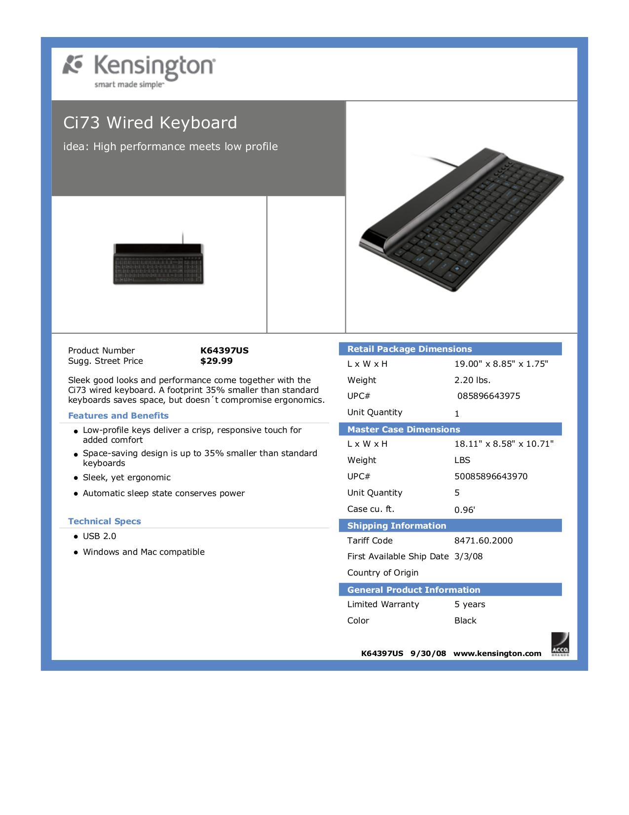 pdf for Kensington Keyboard Ci73 manual