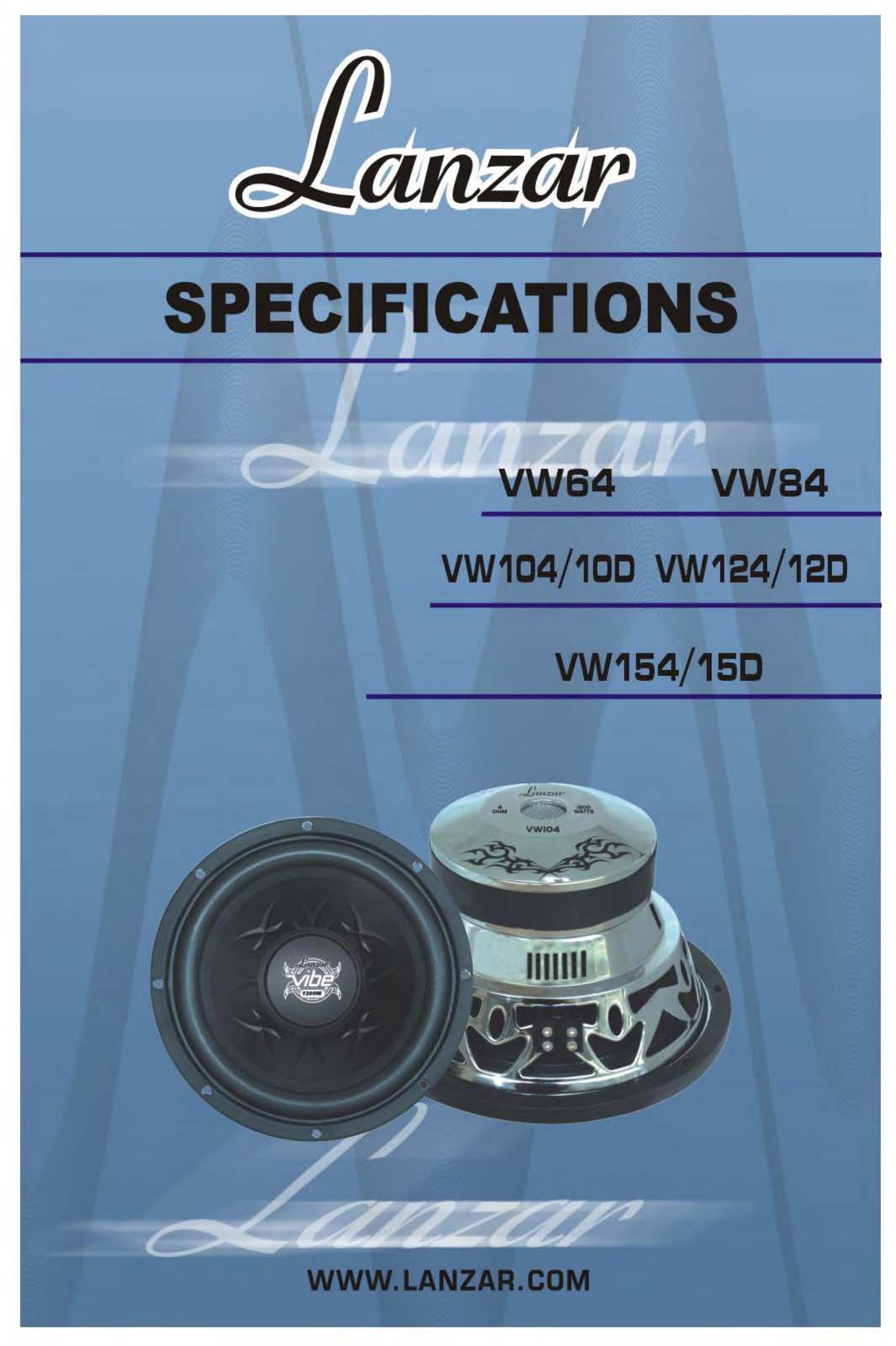 pdf for Lanzar Subwoofer Vibe VW64 manual