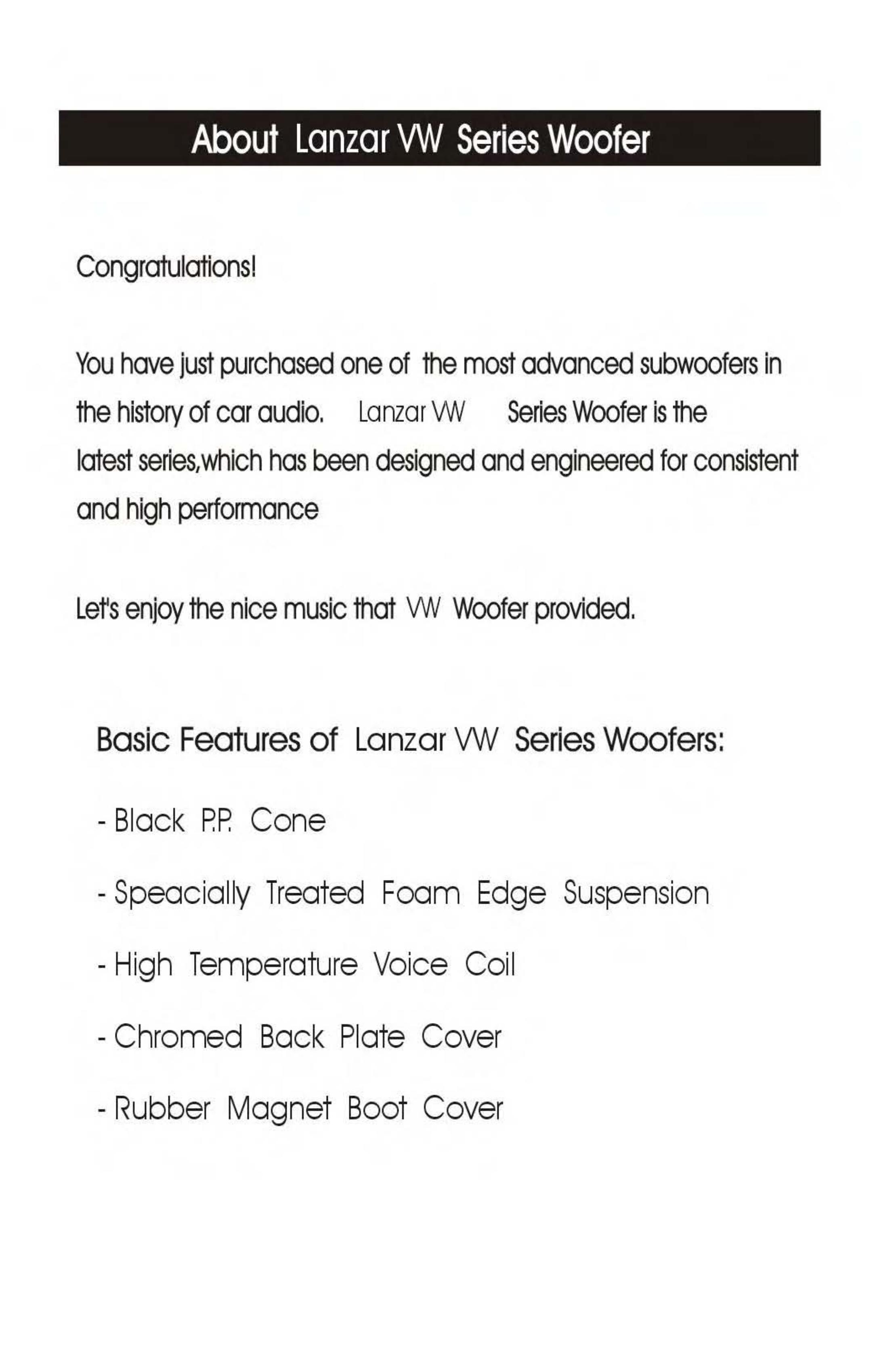 Lanzar Subwoofer Vibe VW64 pdf page preview