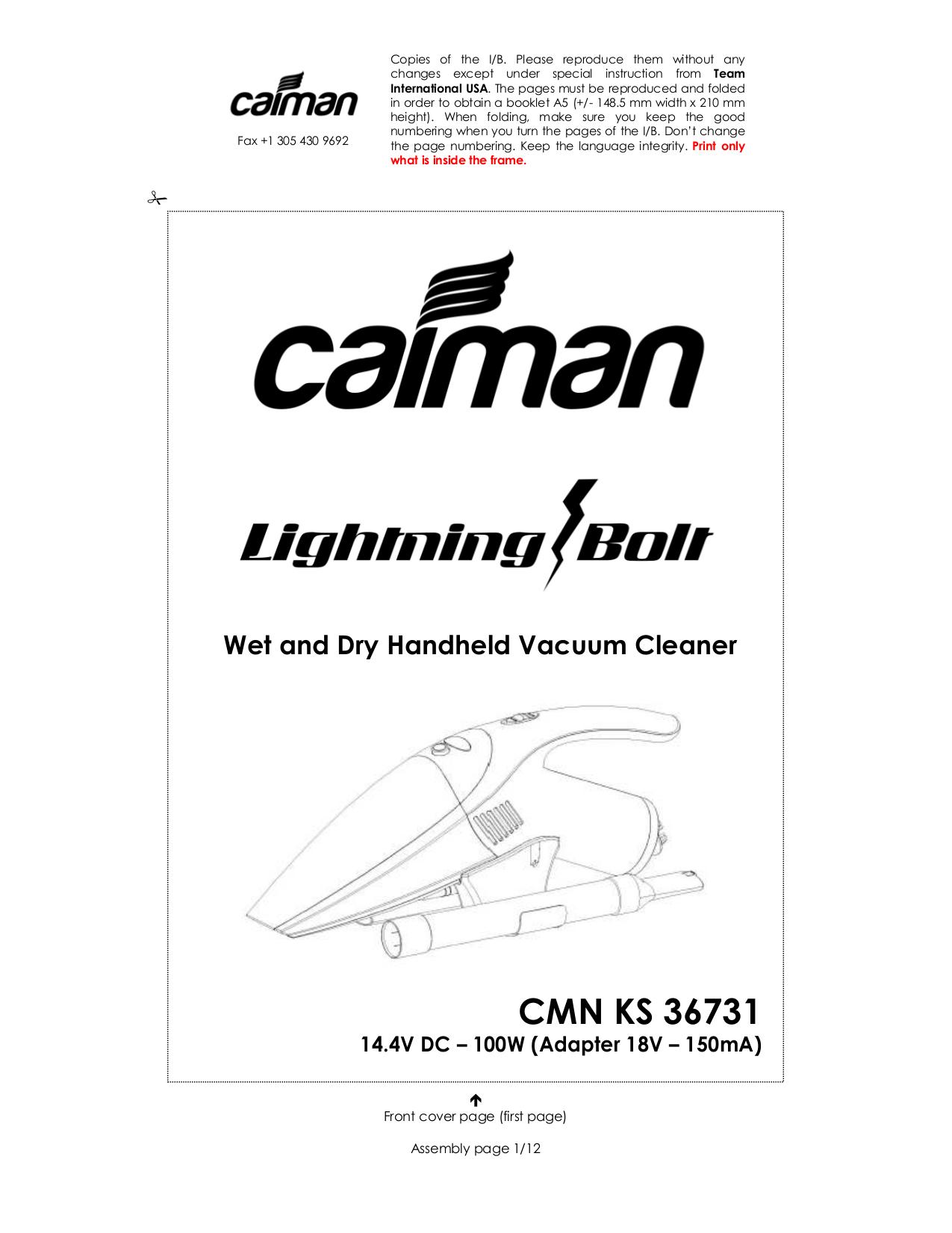 pdf for Kalorik Vacuum KS-2 manual