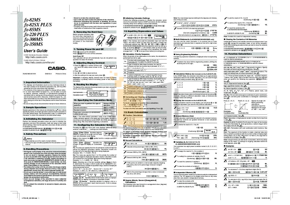 Pdf Manual For Casio Calculator Fx 82es