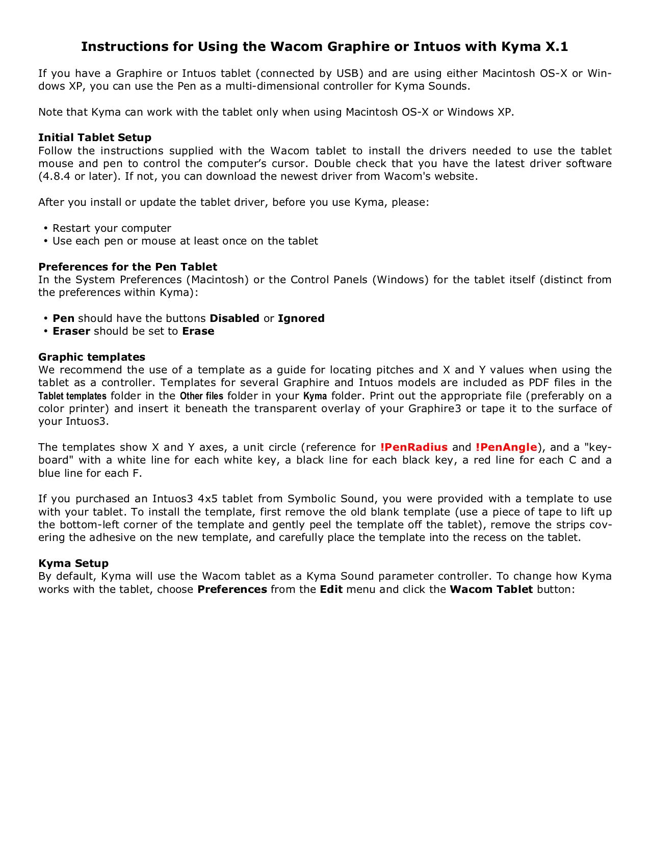 pdf for Wacom Mouse Intuos4 Mouse manual