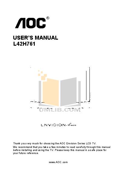 pdf for AOC TV L42H761 manual