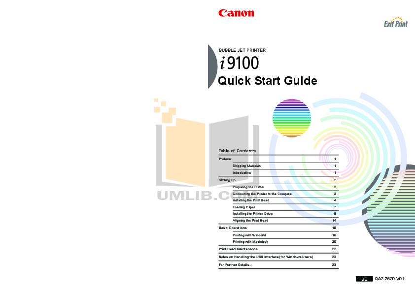 pdf for Canon Printer i9100 manual