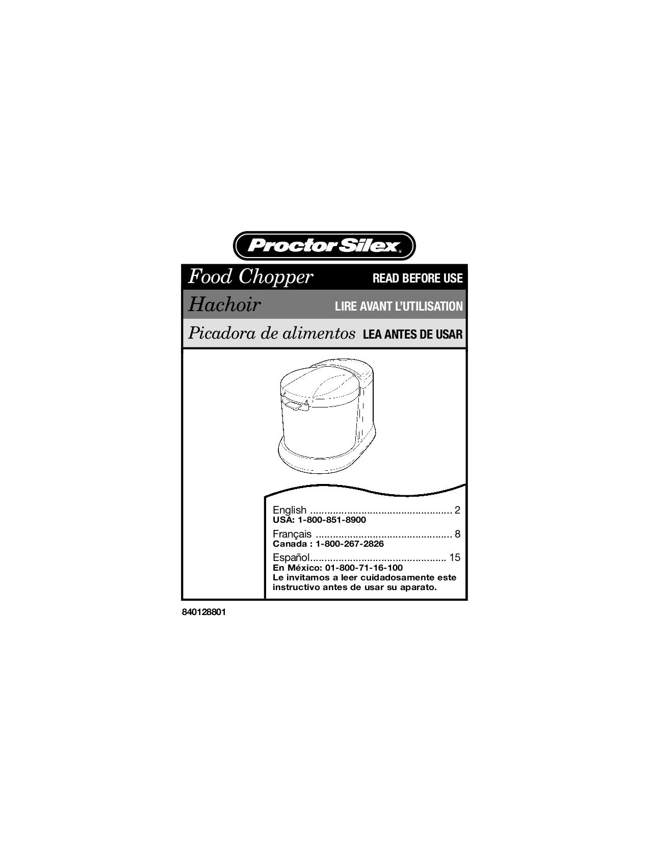 pdf for ProctorSilex Food Processor 72500R manual