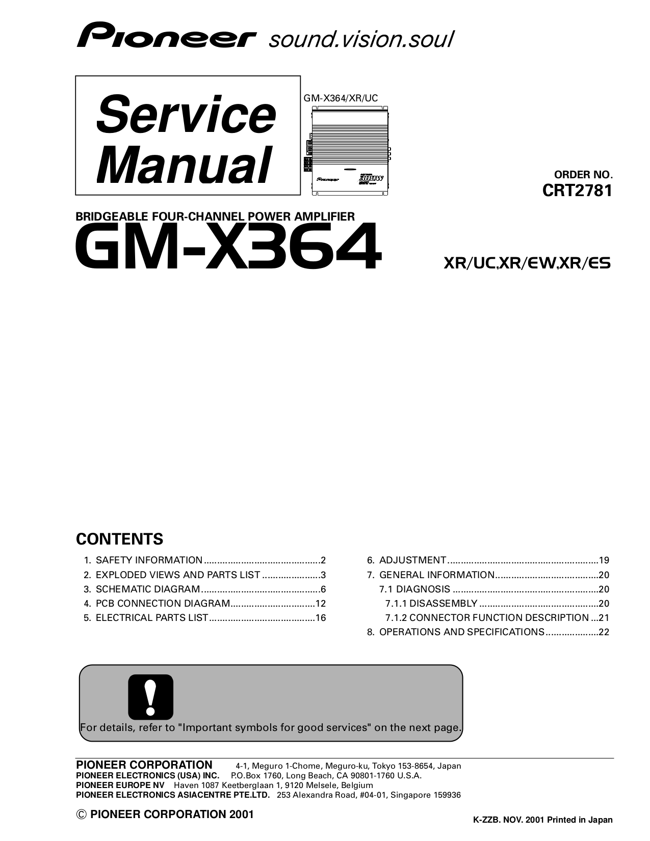 Download Free Pdf For Pioneer Gm X364 Car Amplifier Manual Power Wiring Diagram