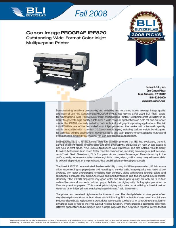 pdf for Canon Printer imagePROGRAF iPF820 manual