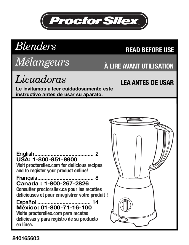 pdf for ProctorSilex Blender 58130N manual