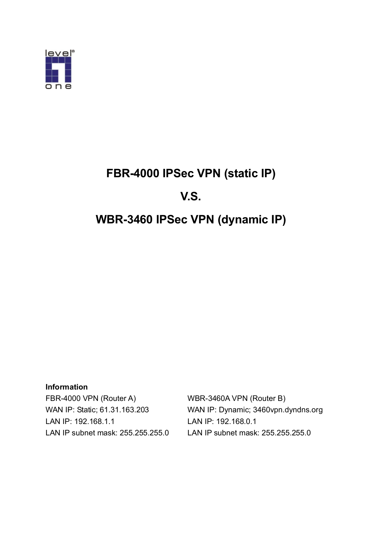 pdf for LevelOne Router FBR-4000 manual