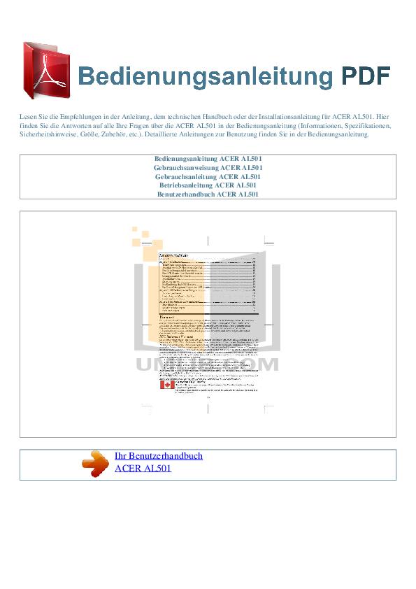 pdf for Acer Monitor AL501 manual