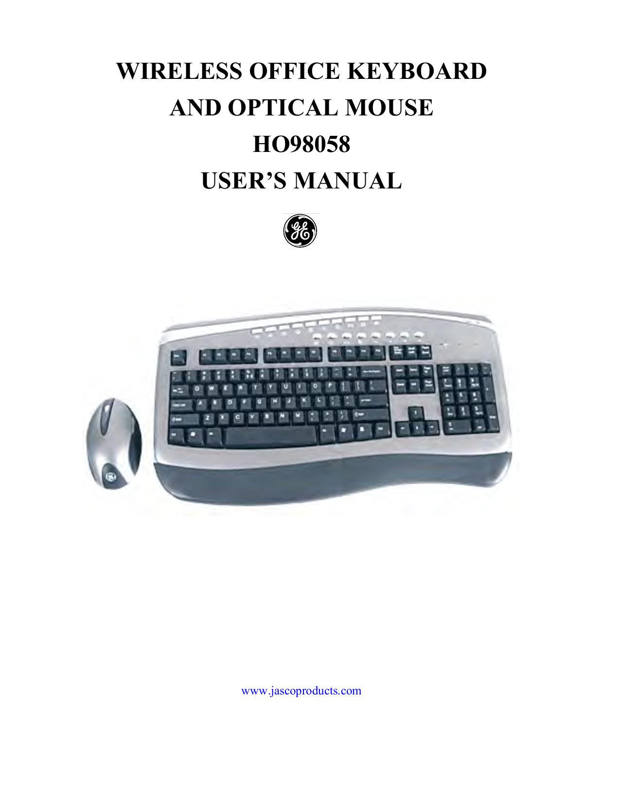 pdf for Jasco Keyboard HO98058 manual