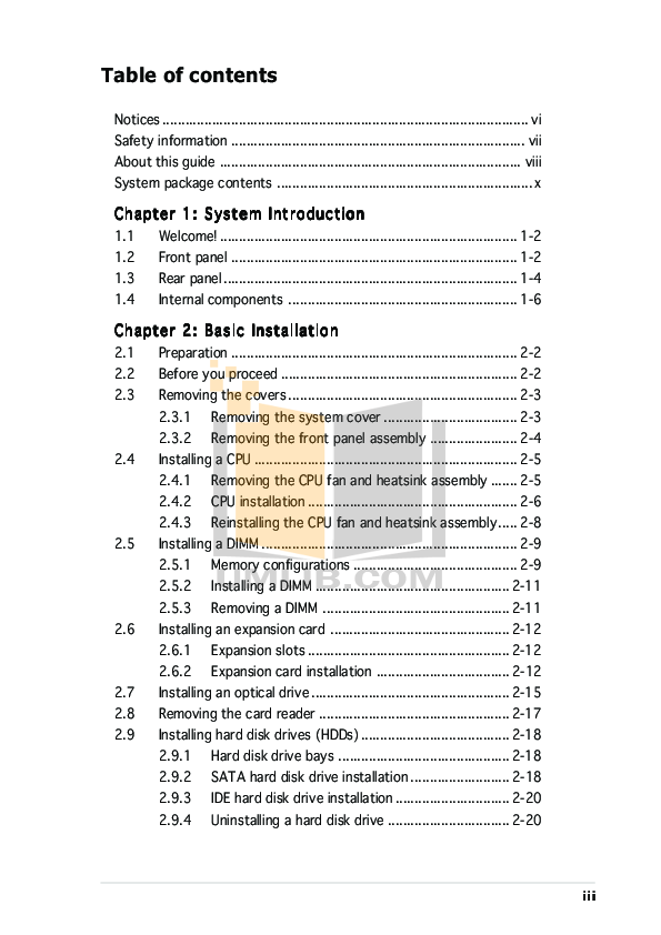 Asus Desktop V2-PE3 pdf page preview
