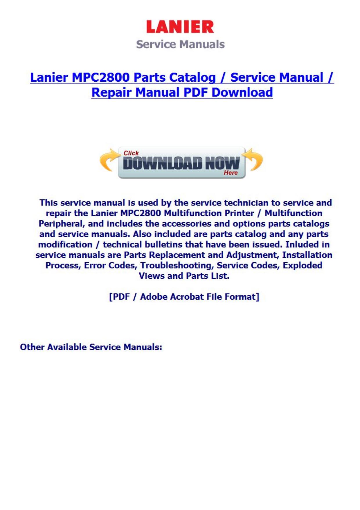 Lanier 7228 Service manual