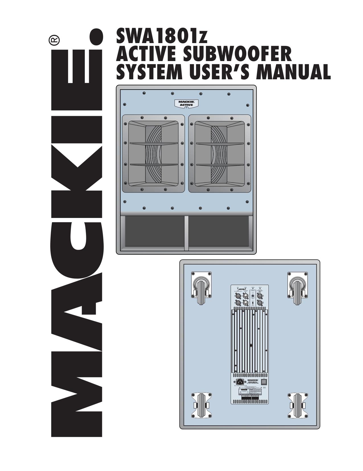 pdf for Mackie Speaker System SA1521 manual