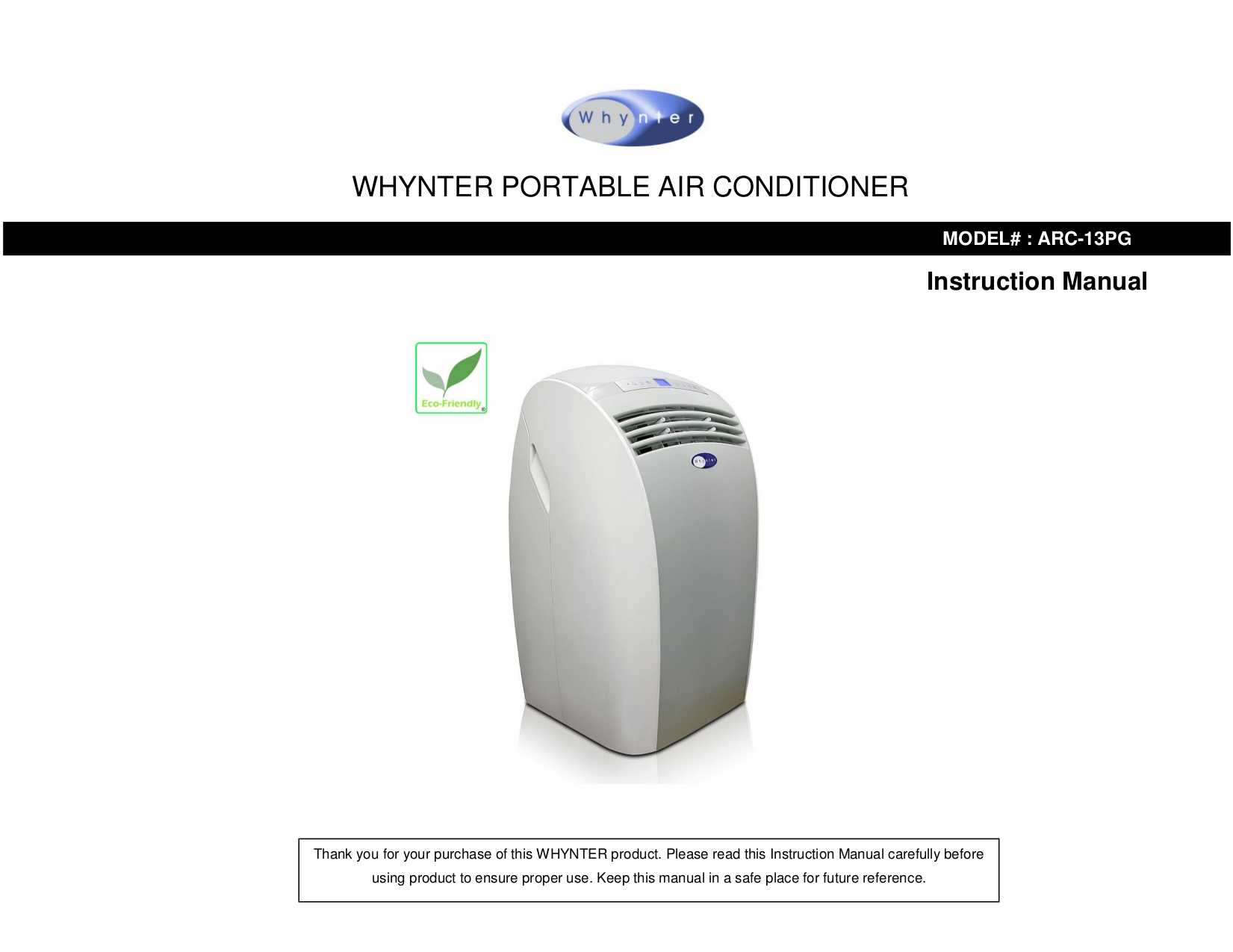 pdf for Whynter Air Conditioner ARC-12S manual