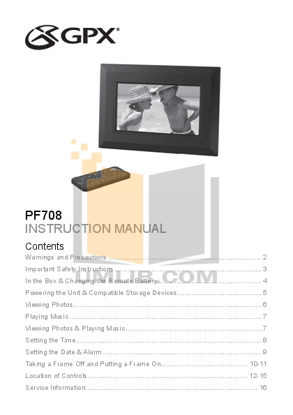 pdf for GPX Digital Photo Frame PF708 manual