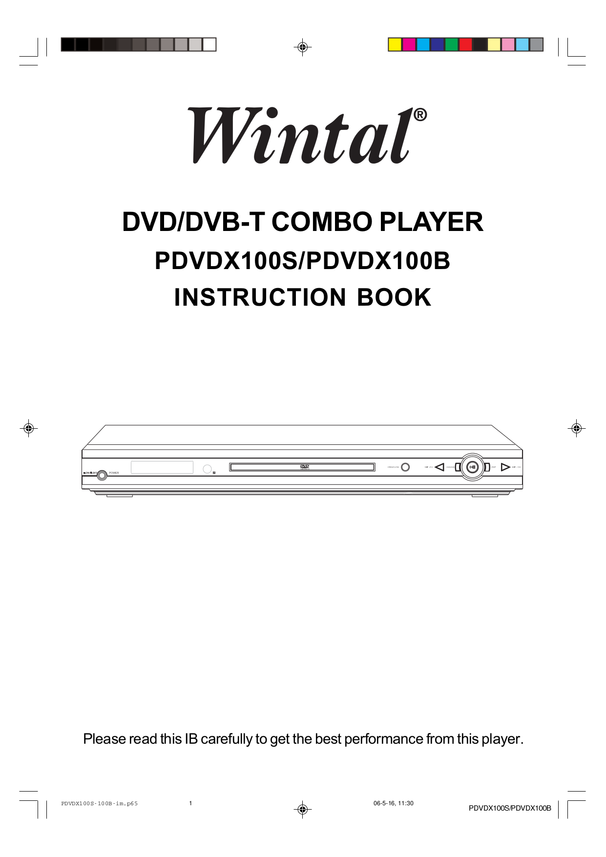 pdf for Wintal DVD Players PDVDX100S manual