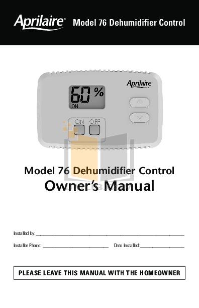 pdf for Aprilaire Dehumidifier 1710 manual