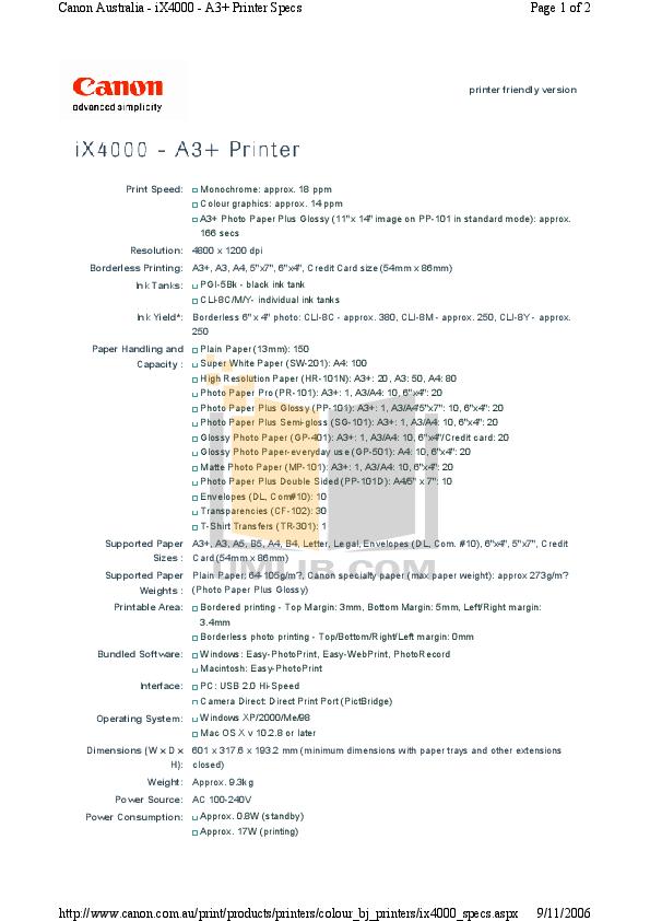 pdf for Canon Printer PIXMA iX4000 manual
