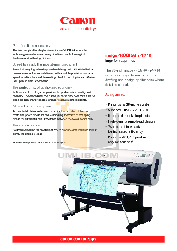 pdf for Canon Printer imagePROGRAF iPF710 manual