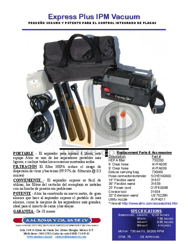 pdf for Atrix Vacuum Express Plus IPM manual
