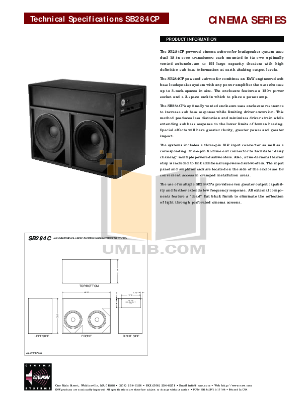 pdf for Eaw Subwoofer Cinema SB284C manual