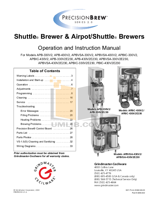pdf for Cecilware Coffee Maker C2001 manual