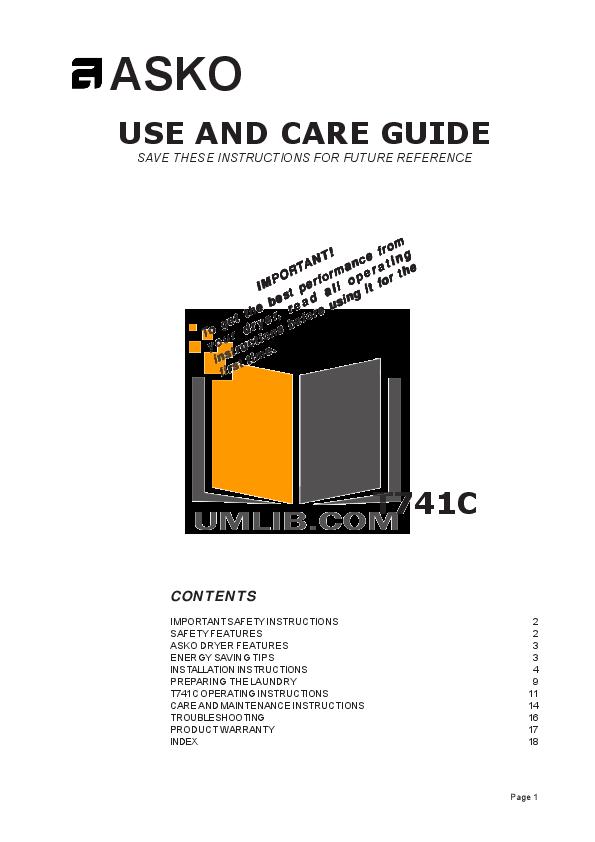 pdf for Asko Dryer T741C manual