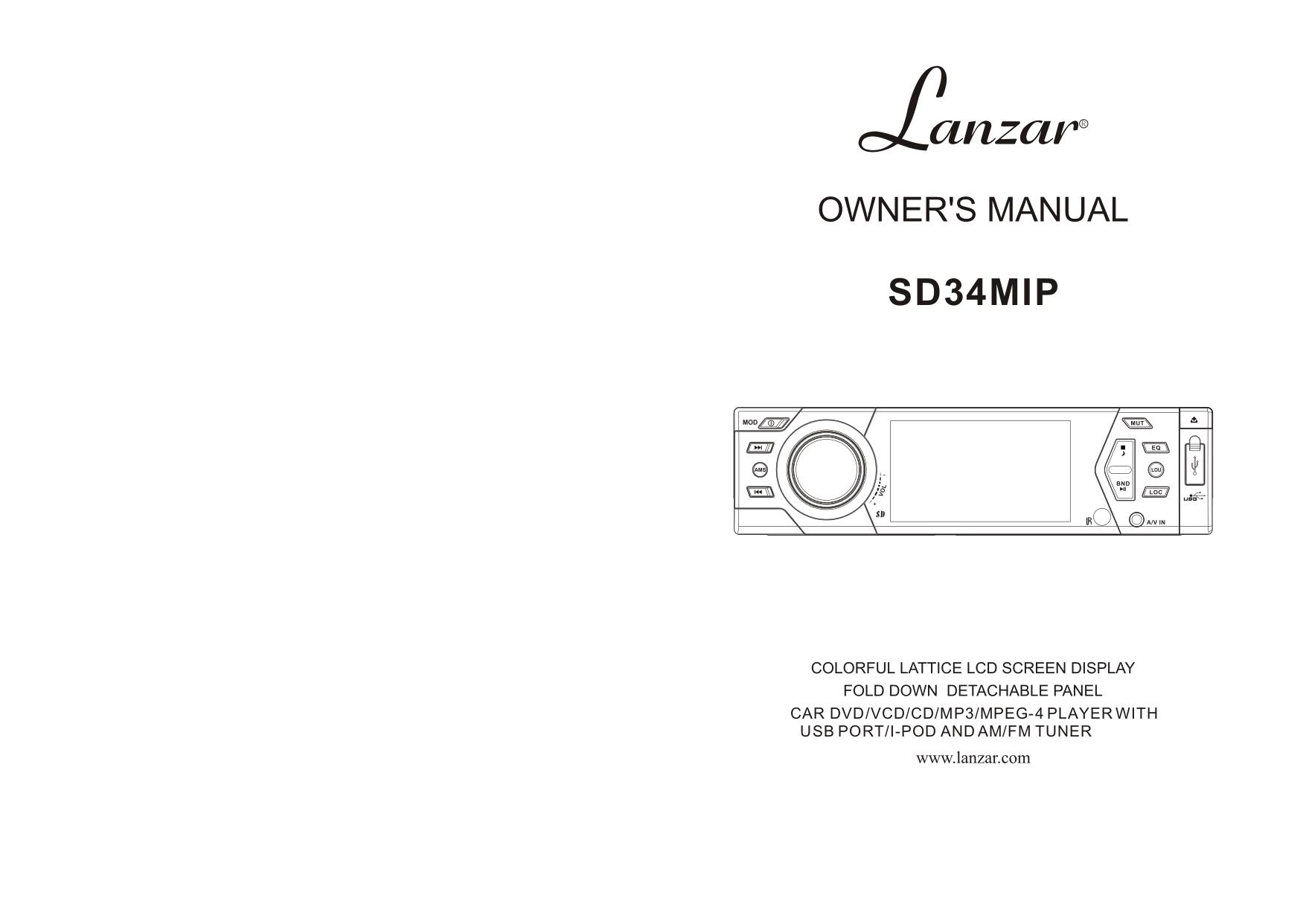 pdf for Lanzar Car Video SD34MIP manual