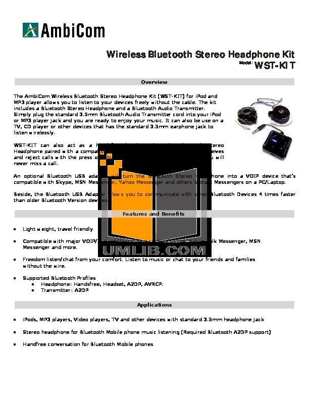 pdf for AmbiCom Headphone WST-KIT manual